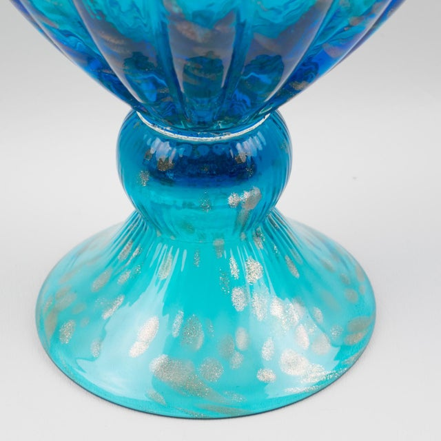 Italian Empoli Hand Blown Turquoise Glass Lidded Apothecary Jar Dispenser For Sale - Image 11 of 13