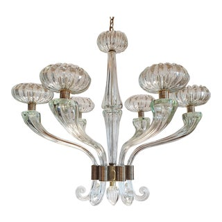 Large Mid Century Modern Clear Murano Glass Chandelier, Barovier Style 1960s For Sale