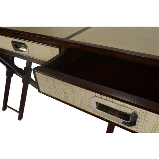 Animal Skin Campaign David Francis Mahogany/Leather Writing Desk For Sale - Image 7 of 8
