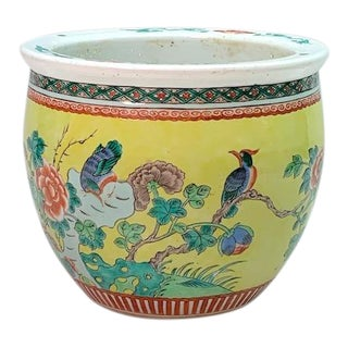 Antique Chinese Famille Jaune Planter With Blue Birds (Guangxu/Qing) For Sale