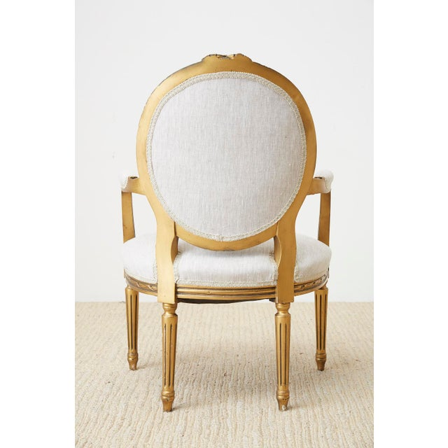 Pair of Louis XVI Style Giltwood Linen Fauteuil Armchairs For Sale - Image 10 of 13