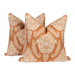 Burnt Orange and Ivory Ikat Pattern Pillows, a Pair