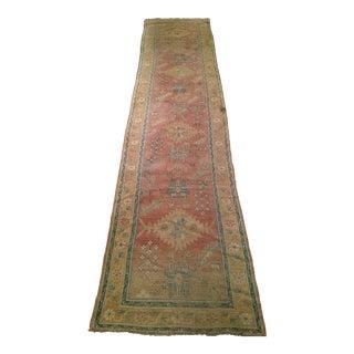 "Late 1800s Turkish Oushak Runner- 3' 5"" X 14' 5"" For Sale"
