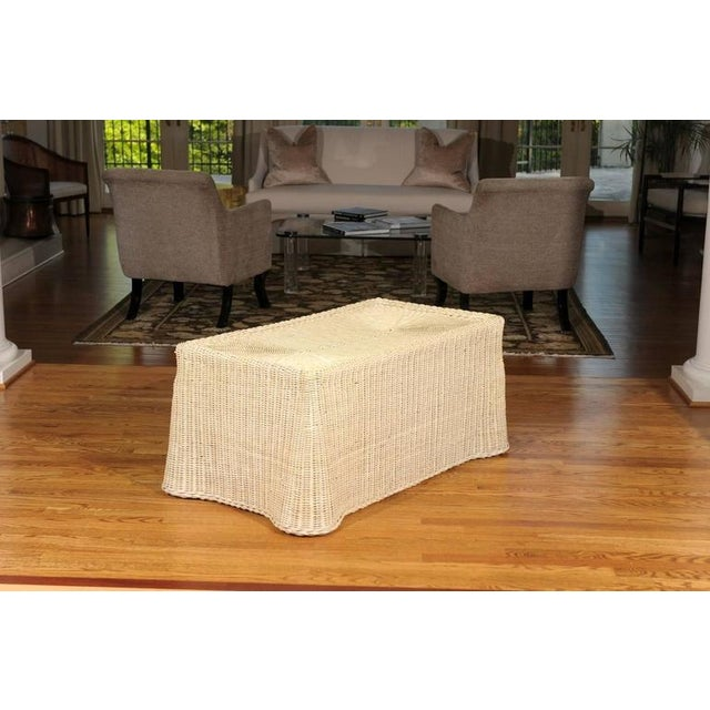1970s Gorgeous Vintage Glazed Drape Wicker Coffee Table For Sale - Image 5 of 8