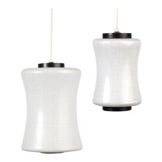 c. 1960 Lightolier Glass Pendant Lamps - A Pair