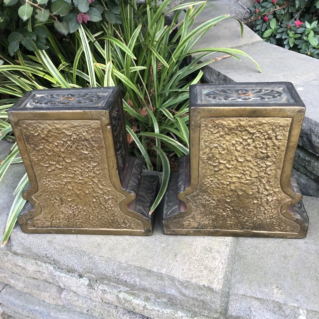 Armor Bronze Armor Bronze Italian Renaissance Floral Basket Bookends - a Pair For Sale - Image 4 of 7