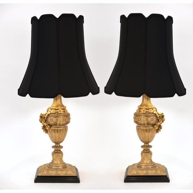 Gold Louis XVI Style Doré Bronze Table Lamps - a Pair For Sale - Image 8 of 10