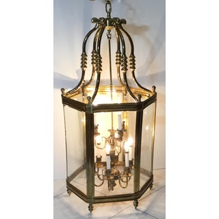 Large Brass Hanging Chandelier with Glass Panes in a Lantern Style Preview