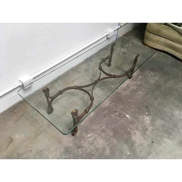 Arturo Pani Gilded Iron & Glass Coffee Table Attributed to Arturo Pani For Sale - Image 4 of 11