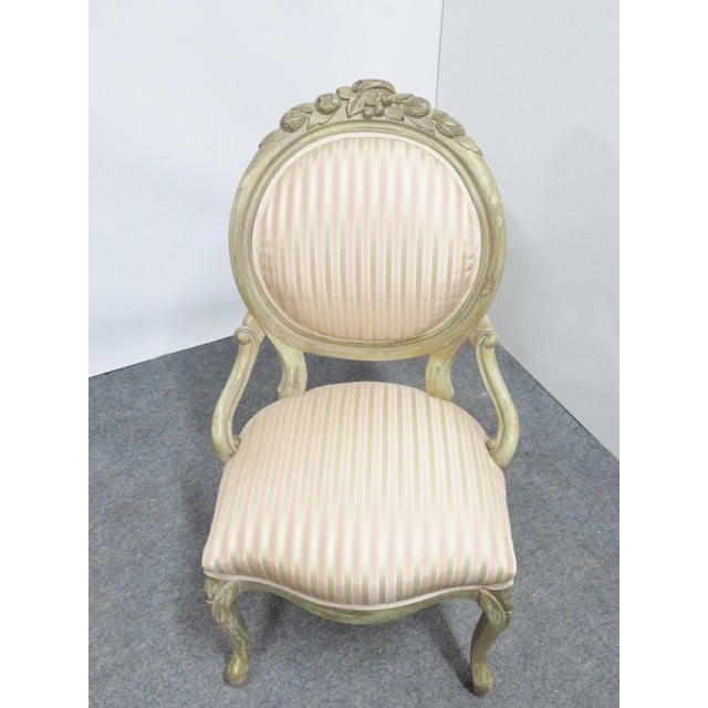 Victorian Style Paint Distressed Side Chair For Sale In Philadelphia - Image 6 of 7