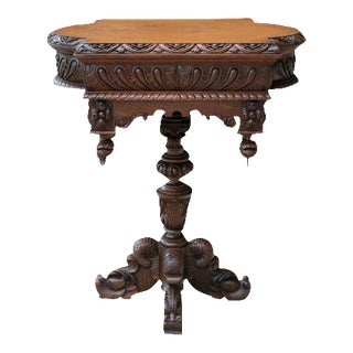 Antique French Walnut Victorian Renaissance Dolphin Pedestal Footed Side Table 19th Century For Sale