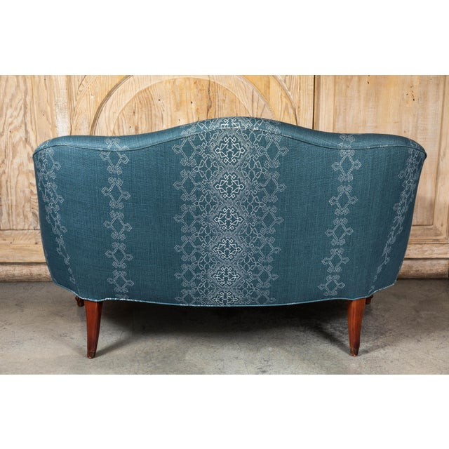 Aqua 1940s Settee With Three Queen Anne Style Front Legs and Carvings For Sale - Image 8 of 9