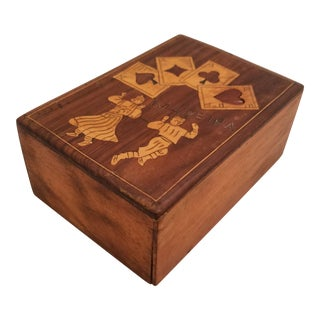 Circa 1930 Folklore Style Inlaid Rosewood and Maple Card Box For Sale