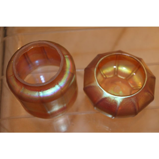 Contemporary Steuben Gold Aurene Style 2 Piece Candle Holder - Image 8 of 9