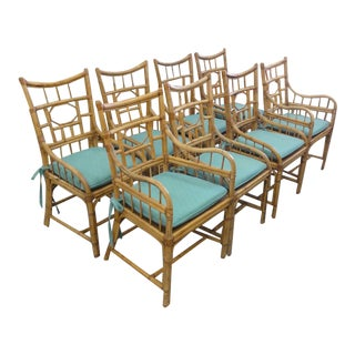Vintage Geometric Bamboo & Cane Dining Chairs - Set of 8 For Sale