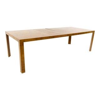 Mid Century Modern Edward Wormley for Dunbar Triangular Leg Burlwood Dining Table For Sale