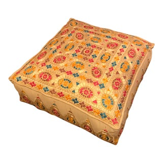 Moroccan Hand-Stitched Large Square Pouf Ottoman For Sale