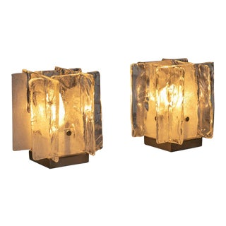 Pair of Murano Glass Table Lamps by Mazzega For Sale