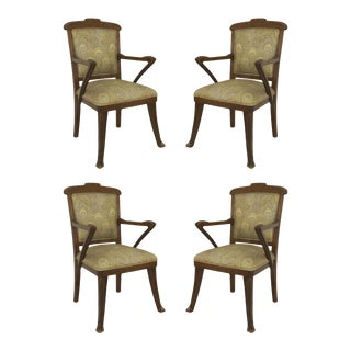 French Art Nouveau Walnut Arm Chairs - Set of 4 For Sale