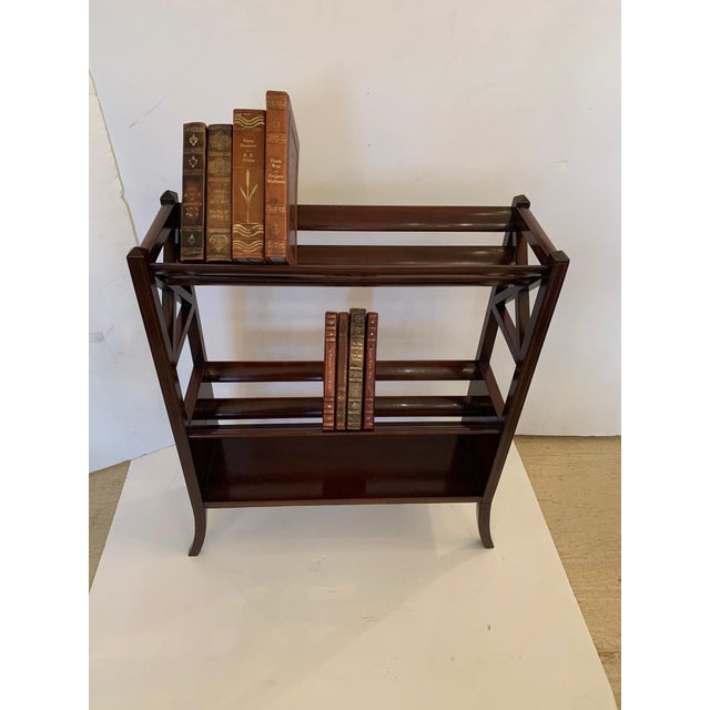 19th Century Mahogany & Satinwood Book Trough Shelving Unit For Sale - Image 4 of 13