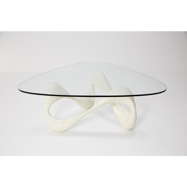 """Contemporary 1990s Contemporary Freeform White Tessellated Stone """"Cursive"""" Coffee Table For Sale - Image 3 of 13"""