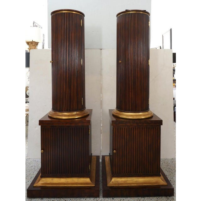 Vintage English Regency Style Cabinets Column High Pedestal Form - a Pair For Sale - Image 10 of 10