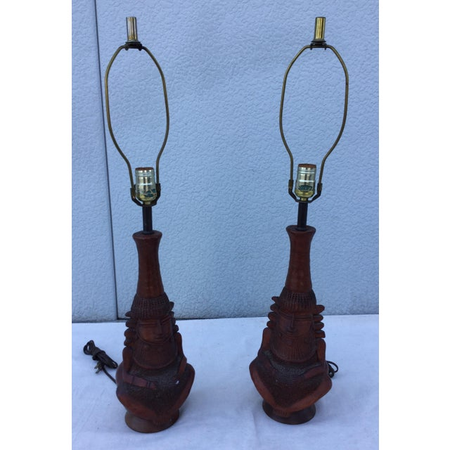 1950's Decorative Wooden Lamps - Pair - Image 10 of 10