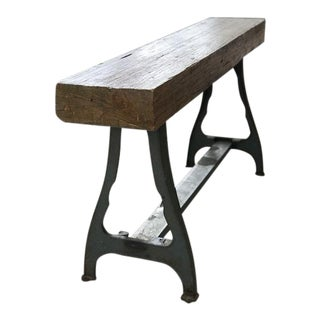 Early 20th Century Vintage Reclaimed Oak Butcher Block/Console Table