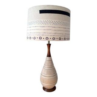 Quartite Mid-Century Modern Table Lamp With Shibori Shade