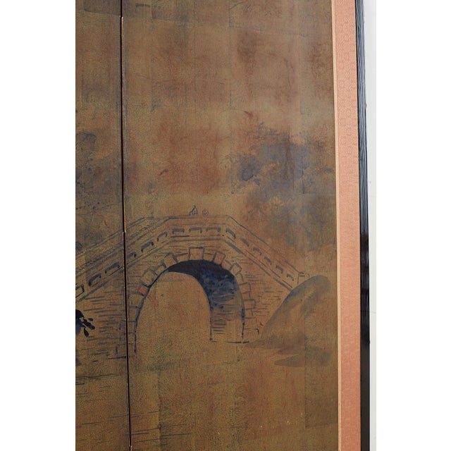 Metal Japanese Four-Panel Screen of Pagoda Bridge Landscape For Sale - Image 7 of 13