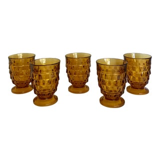 Vintage Amber Cut Glass Pedestal Glasses - Set of 5 For Sale