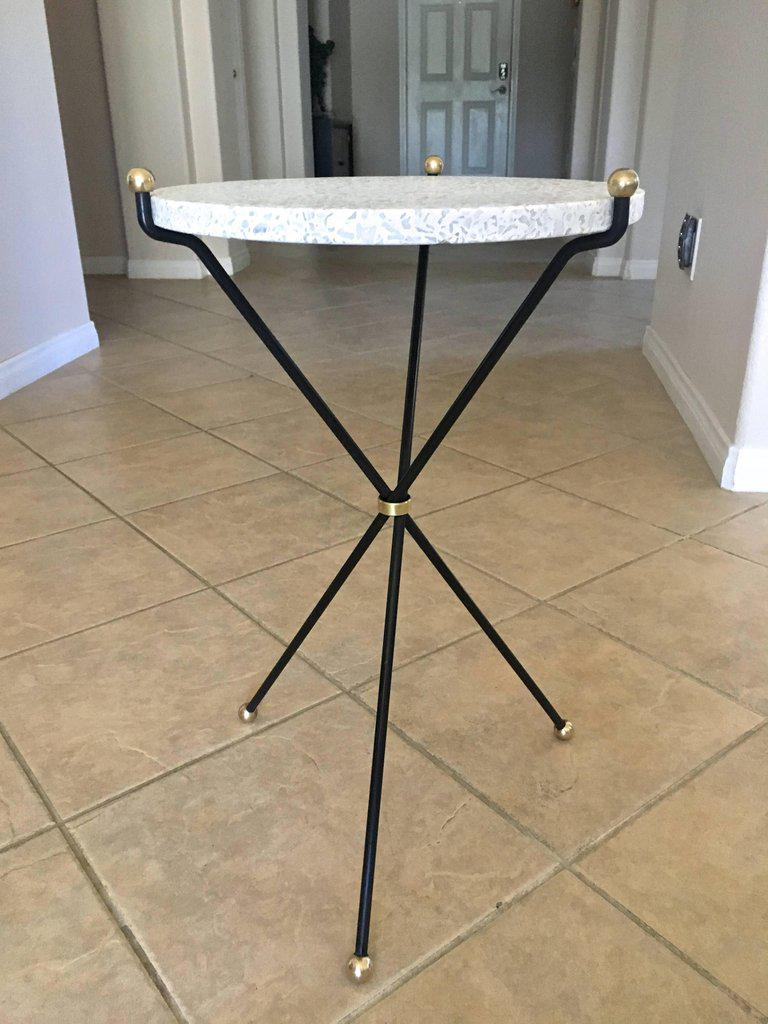 Italian Tripod Brass And Painted Steel Tripod Side Or End Table With Inset  Terrazzo Stone Top