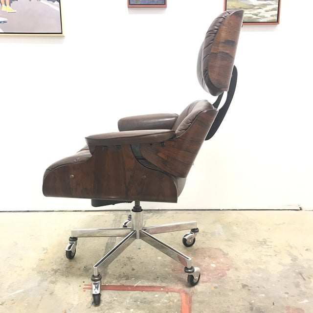 eames style rosewood leather office chair chairish