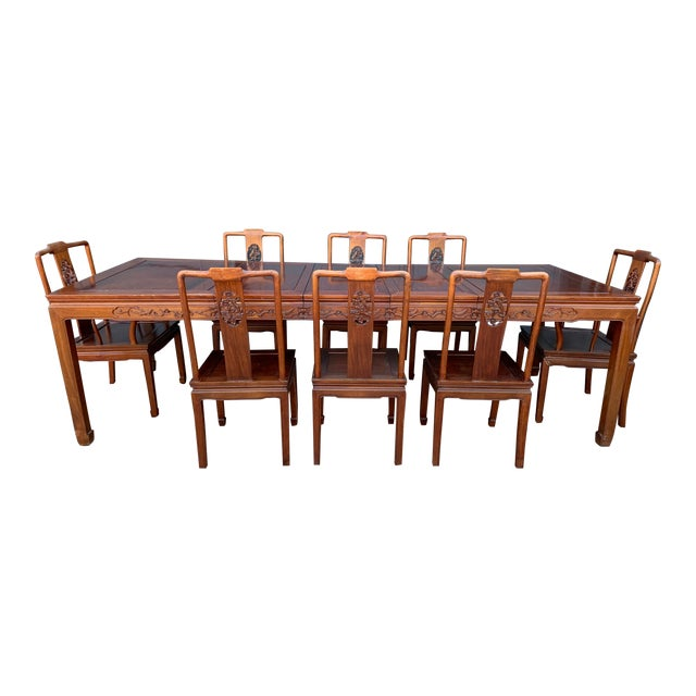 Vintage Solid Rosewood Dining Set - 9 Pieces For Sale