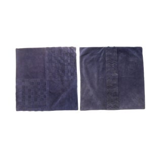 Williams-Sonoma Inky Blue Suede Pillow Covers - a Pair For Sale