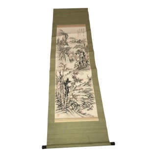 Antique Landscape Asian Scroll For Sale
