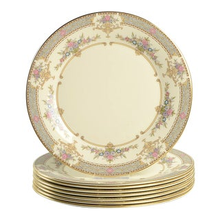 1980s Minton Persian Rose Dinner Plate - Set of 8 For Sale