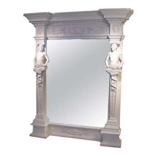 Neoclassical Lacquered Faun Framed Mirror For Sale