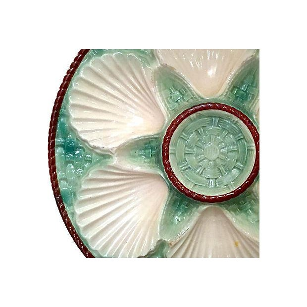 Antique Majolica Oyster Platters - Set of 8 For Sale - Image 5 of 6