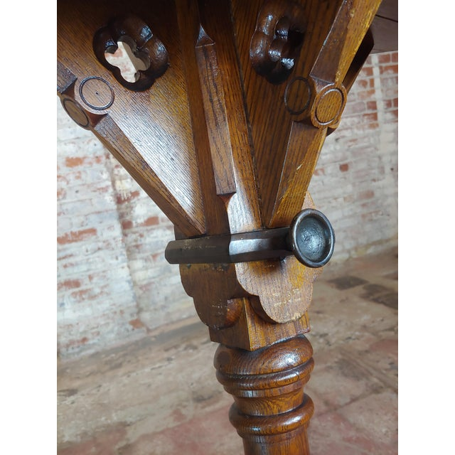 Wood Gothic Revival -Vintage Carved Oak Reading Church Pedestal For Sale - Image 7 of 11