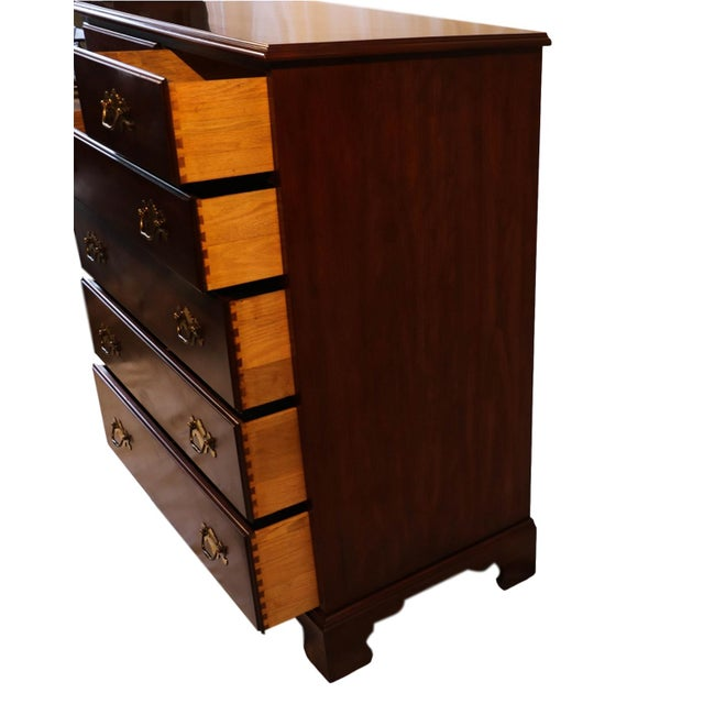 Chippendale Henkel Harris Solid Cherry Tall Chest Dresser For Sale - Image 3 of 10