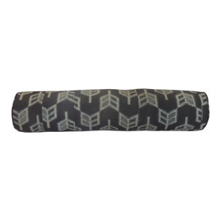 "Vintage Long Grey and Black Japanese ""Boro"" Textile Decorative Bolster Pillow For Sale"