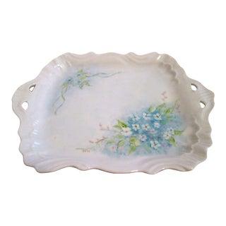 1920s Blue Wildflowers Handled Vanity Dish For Sale