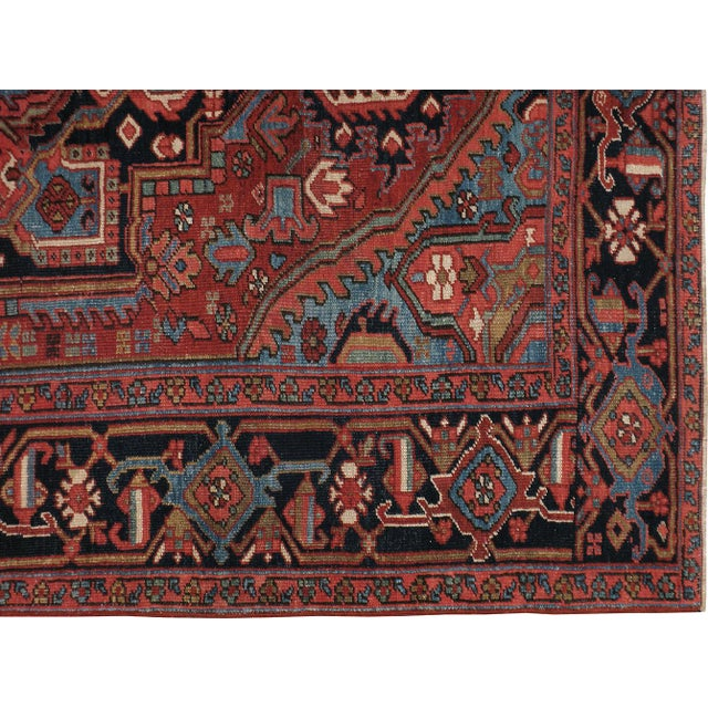 "Vintage Persian Heriz Rug - 6'8"" X 10'2"" For Sale - Image 4 of 4"