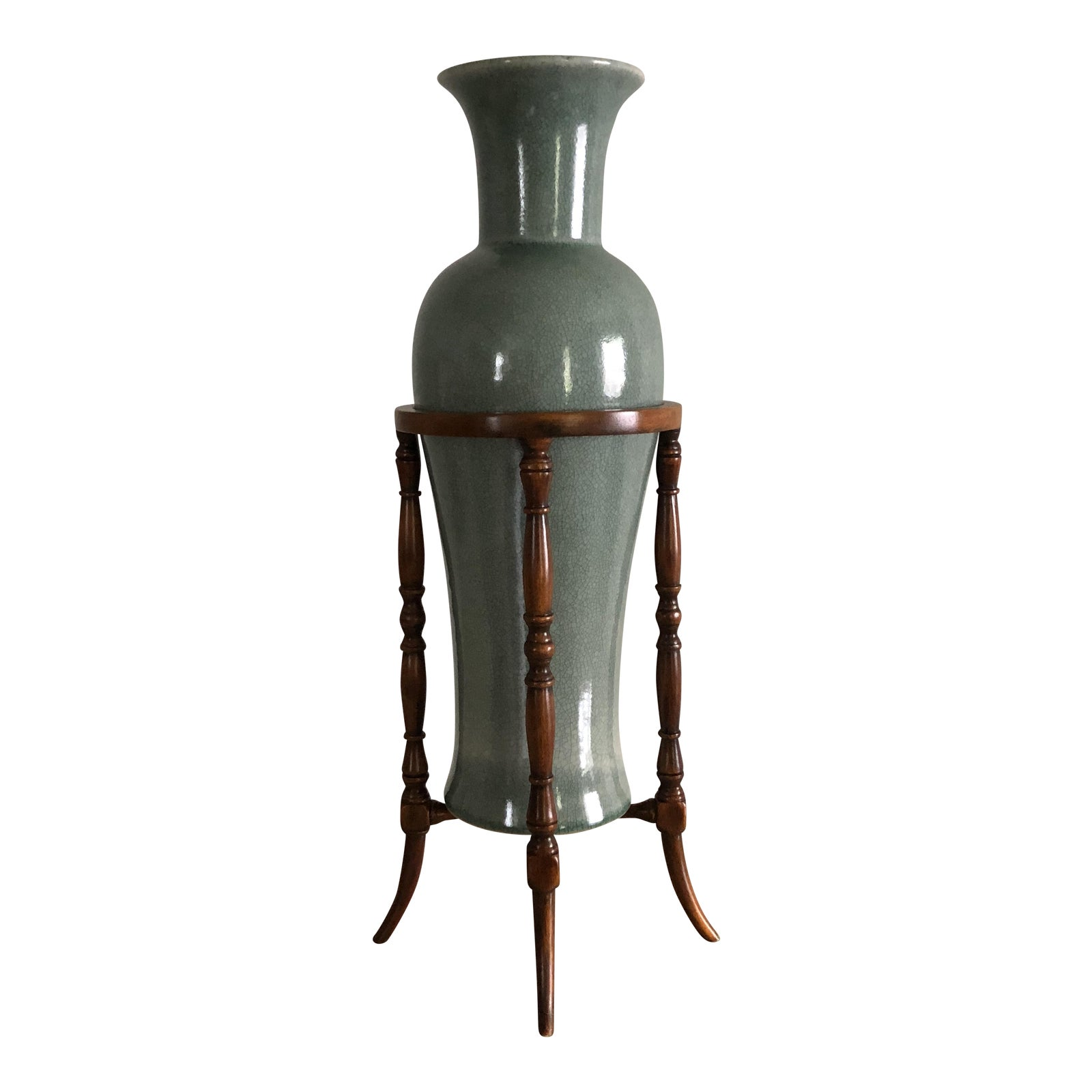Theodore Alexander Chinoiserie Celadon Green Crackle Glaze Vase in ...