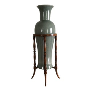 Theodore Alexander Chinoiserie Celadon Green Crackle Glaze Vase in Bamboo Stand
