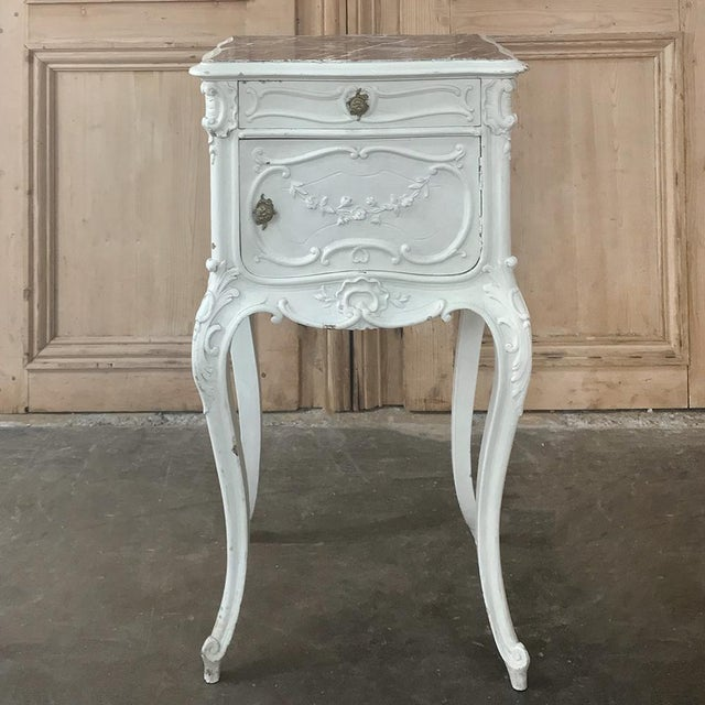Late 19th Century 19th Century French Louis XV Painted Nightstand For Sale - Image 5 of 13