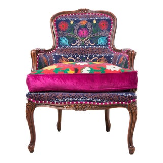 Boho Chic, Suzani Embroidery Chair, Bergere Style, Blue Velvet, Silk Embroidery, Feather Seat Cushion, High Legged, Hand Carved, Silver Nail Head Trim
