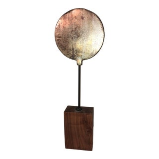 Mid-Century Modern Metal Disk on Stand For Sale