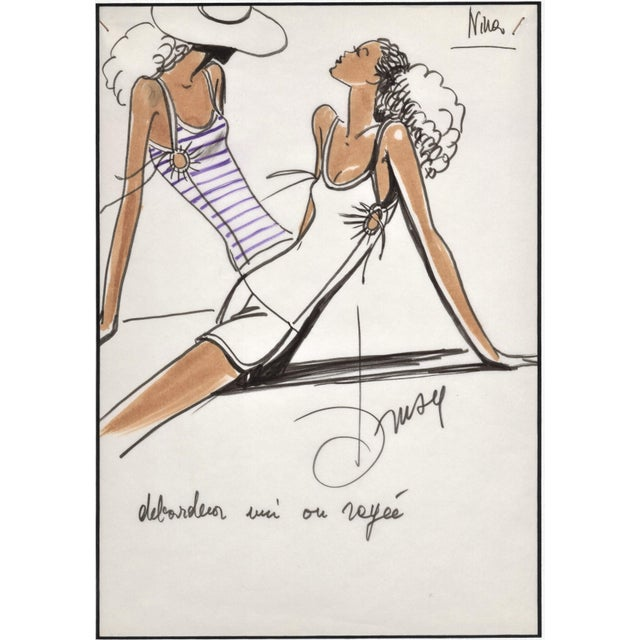 """RARE! This is a matted original 1980's fashion design from a French designer, Drusy Passerini. Drusy was a """"stylist..."""